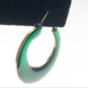 1970s  Green Hoop Earrings